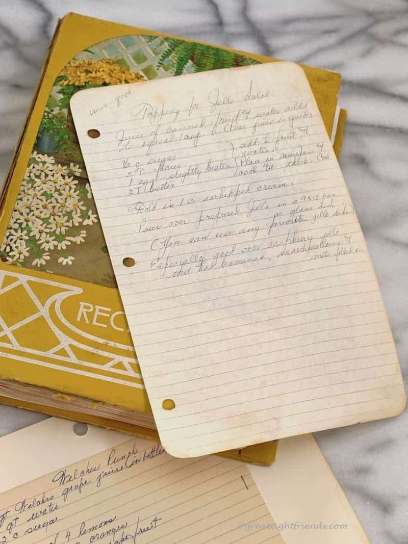 An old handwritten recipe on lined paper.