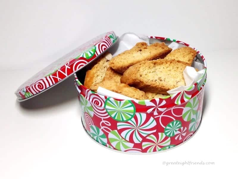 Biscotti in holiday tin.