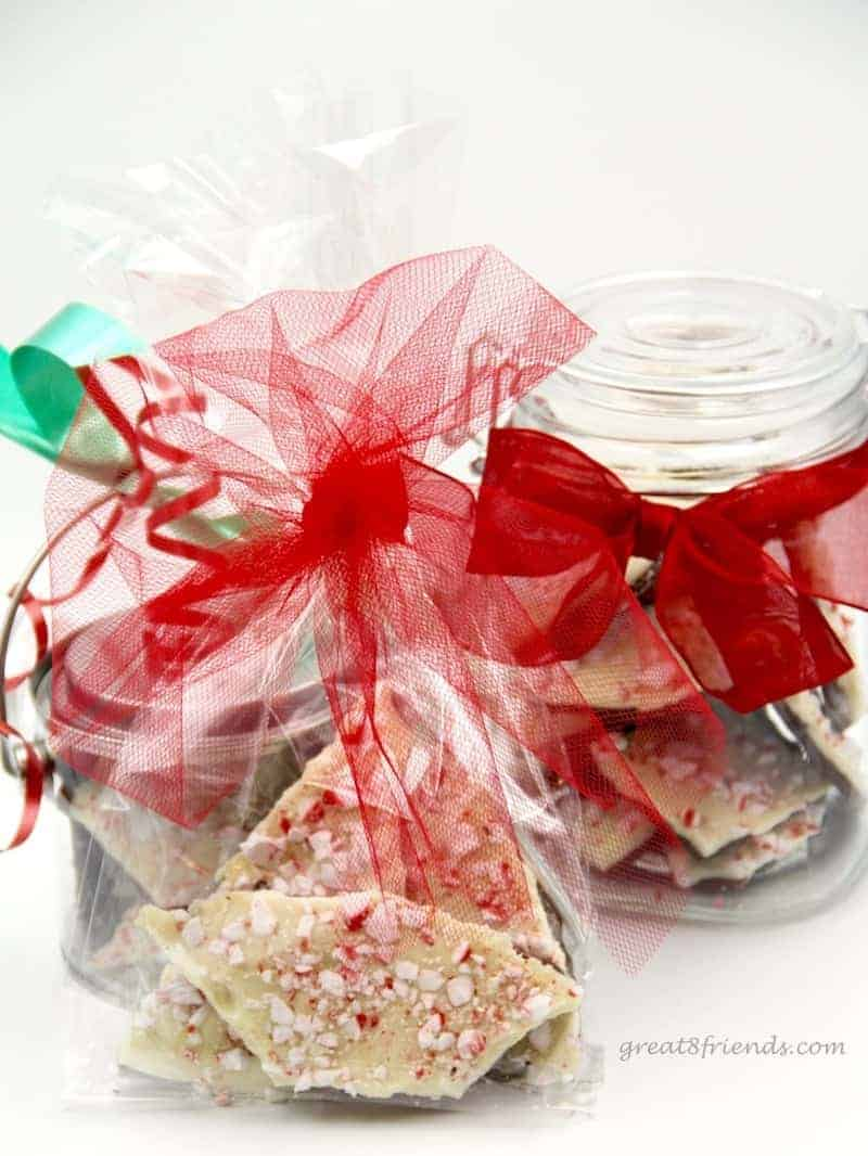 Peppermint bark packaged for Christmas gifts.