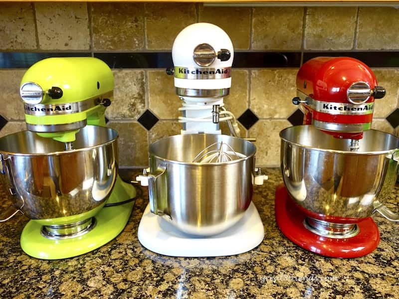 Three KitchenAid Mixers, one of our favorite kitchen tools.