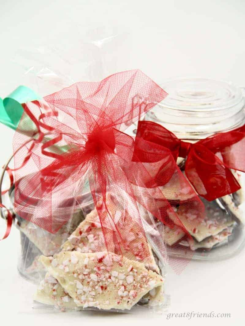 Instead of lugging those bags home from the mall, make your Peppermint Bark this year. This candy is a perfect gift for teachers, neighbors and Gr8 Friends!
