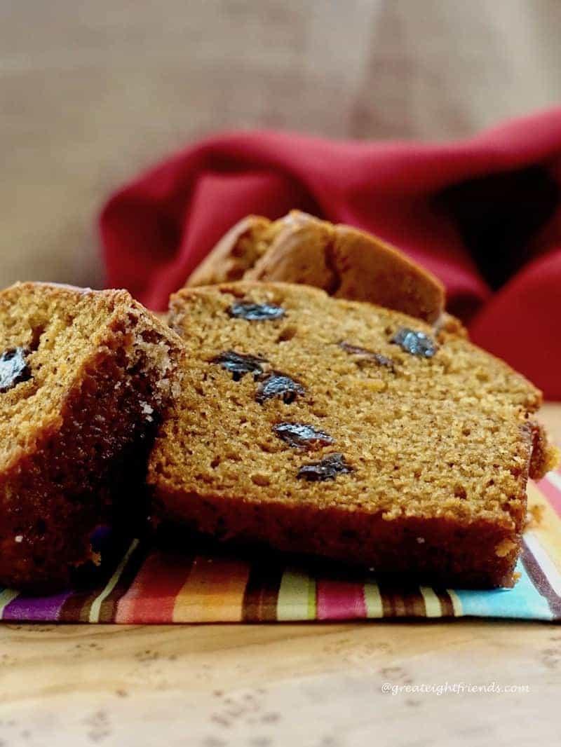 Roasted Pumpkin Olive Oil Quick Bread Slice