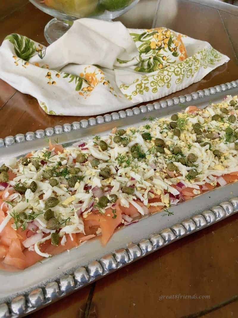 My good friends at Entertaining Events served this Salmon Layered Dip appetizer at my son's Graduation Party and boy was it a hit!