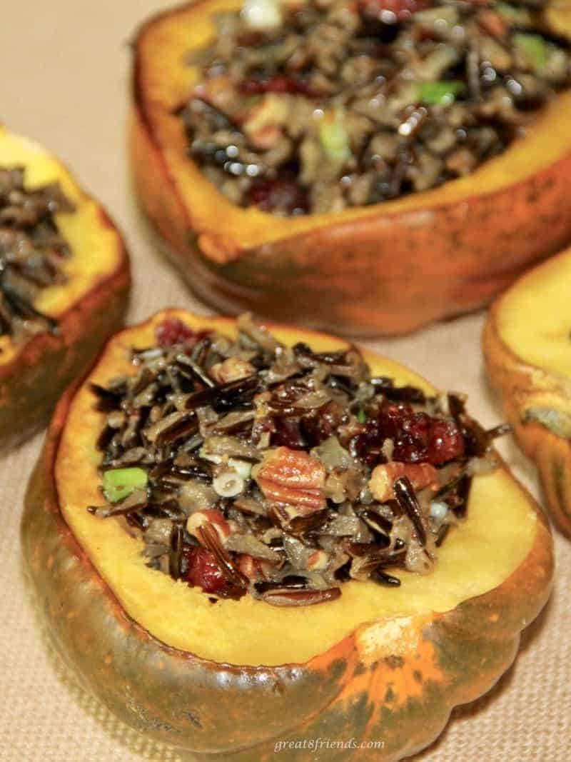 Acorn Squash stuffed with wild rice.