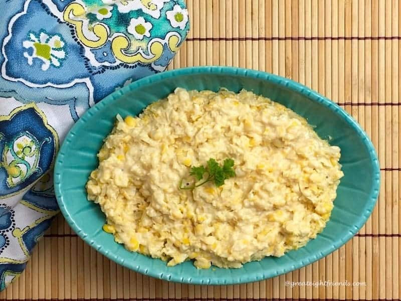Slow Cooker Creamed Corn - set it and forget it! Here is an easy recipe for any family gathering. No slaving over a hot stove, use the slow cooker!