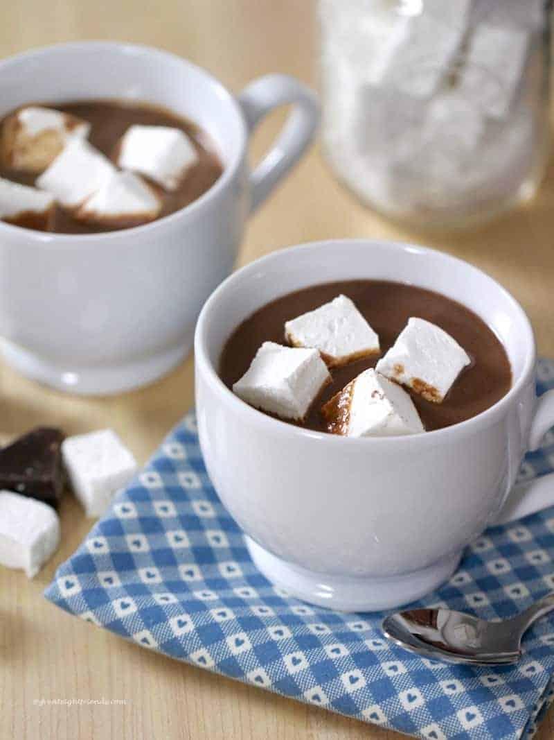 homemade hot chocolate with homemade marshmallows