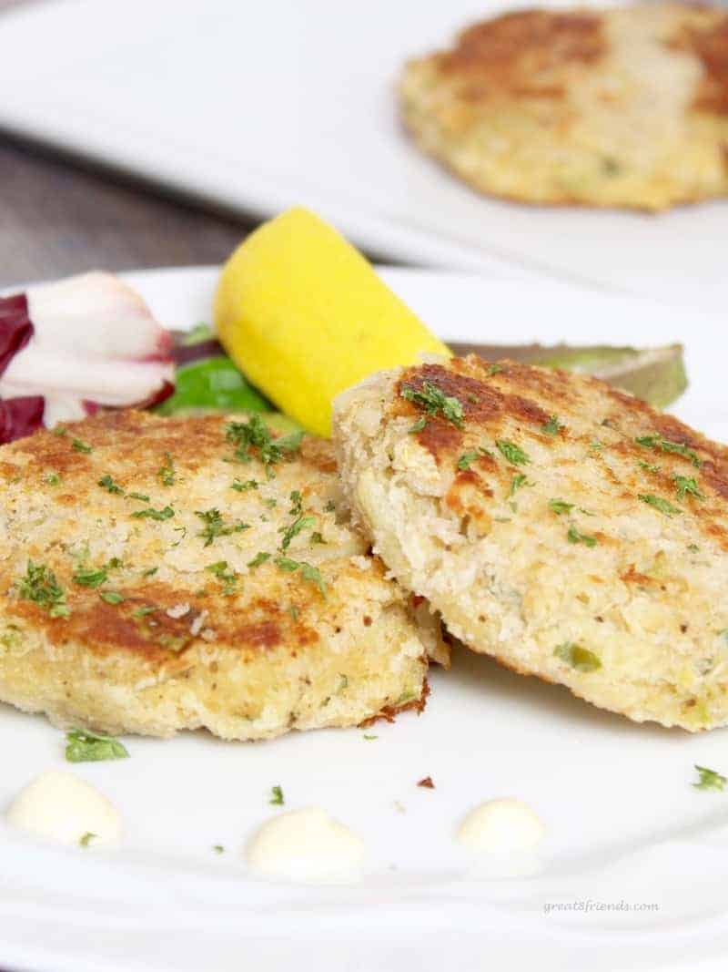 Crab cakes served as a main course or appetizer