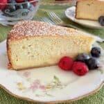 italian ricotta cake closeup vert