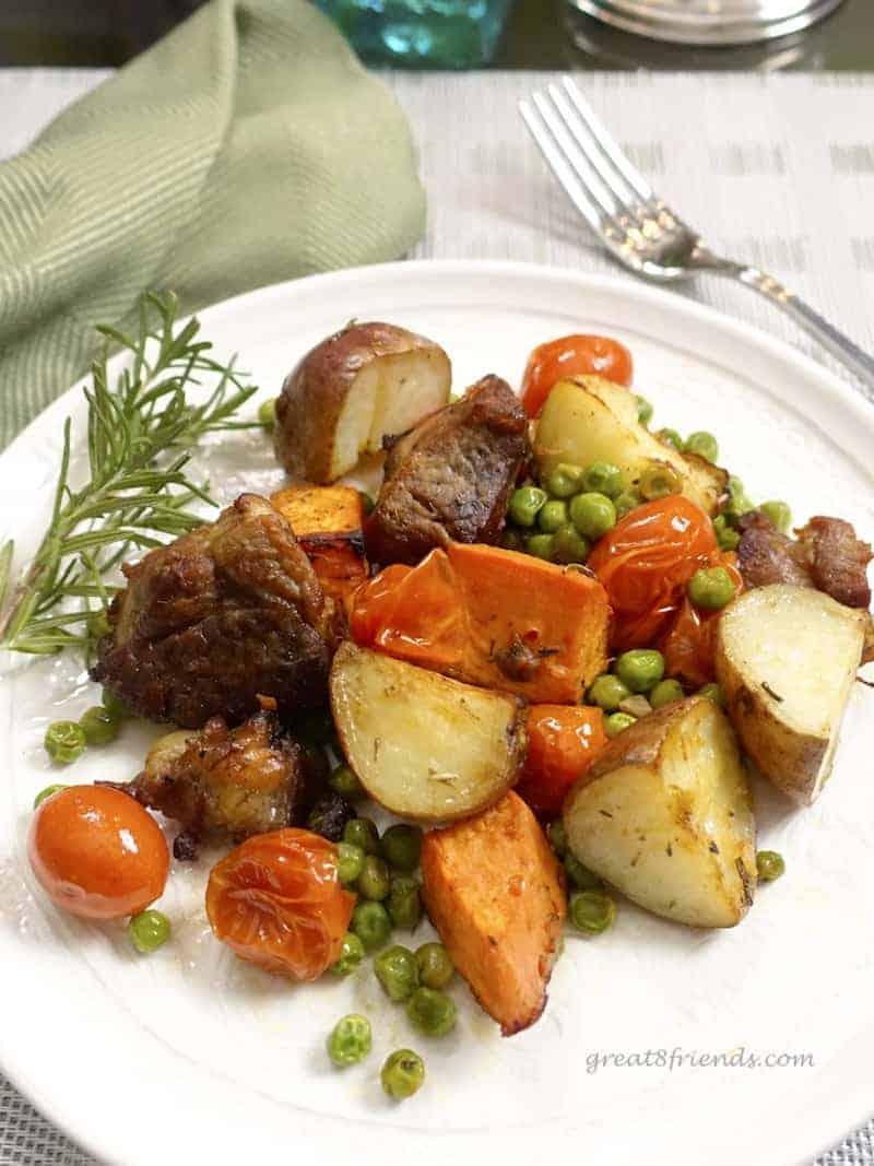 Single serving of sheet pan lamb dinner.