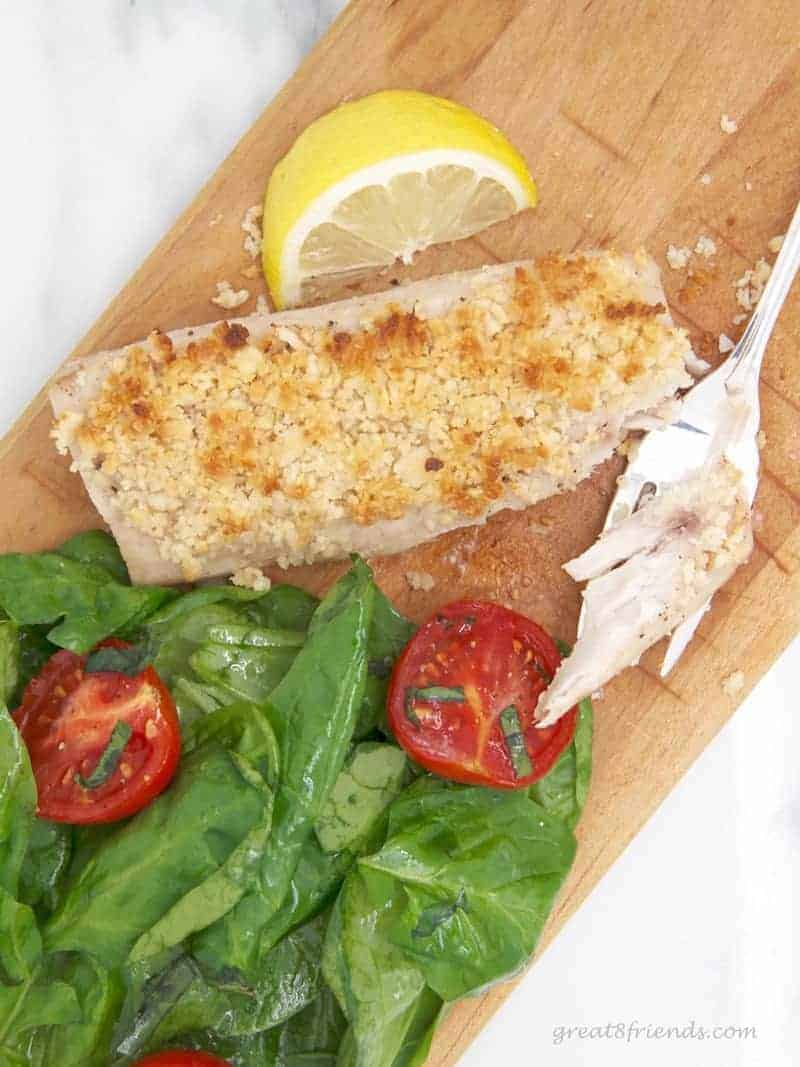 Macadamia Nut crusted Mahi Mahi served with salad