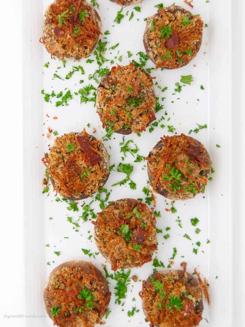 The Great 8 Friends Goes Gourmet with Prosciutto and Parmesan Stuffed Mushrooms