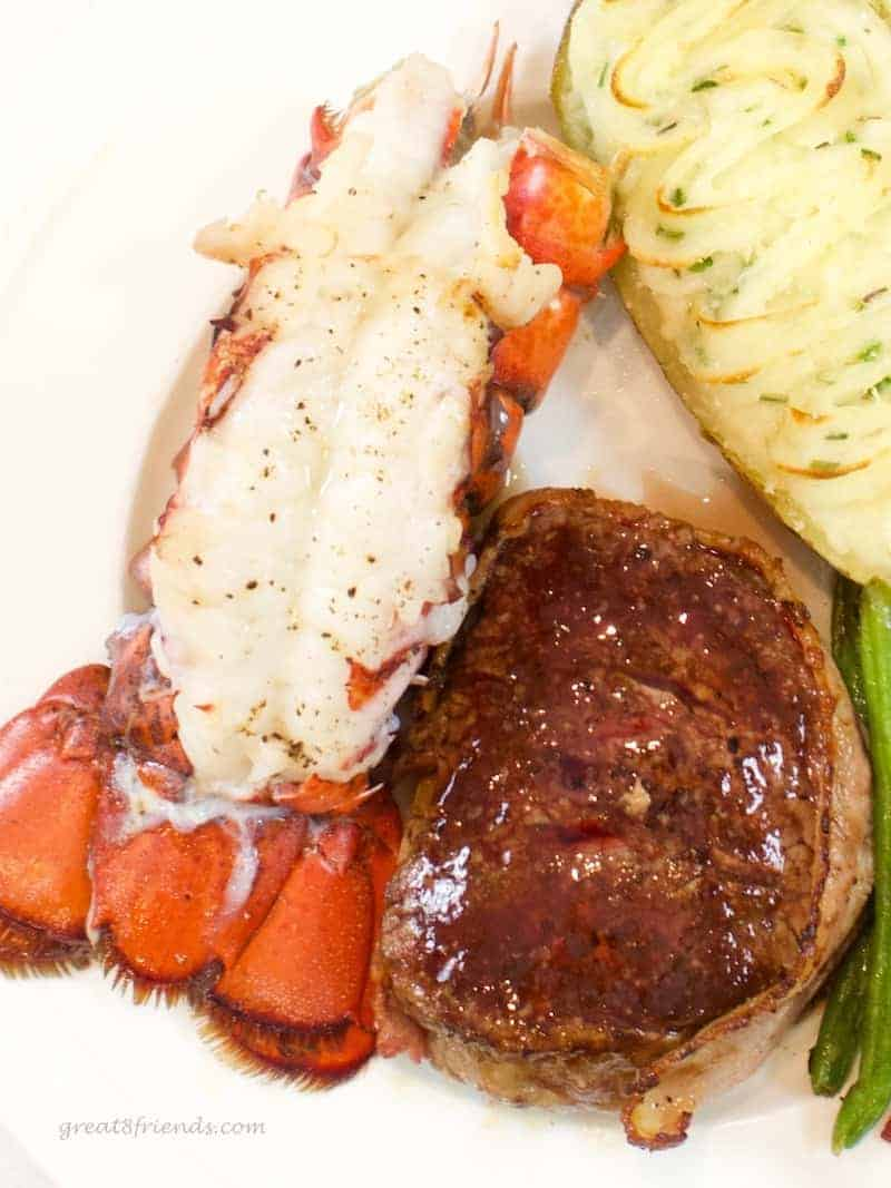 Lobster tail and filet.