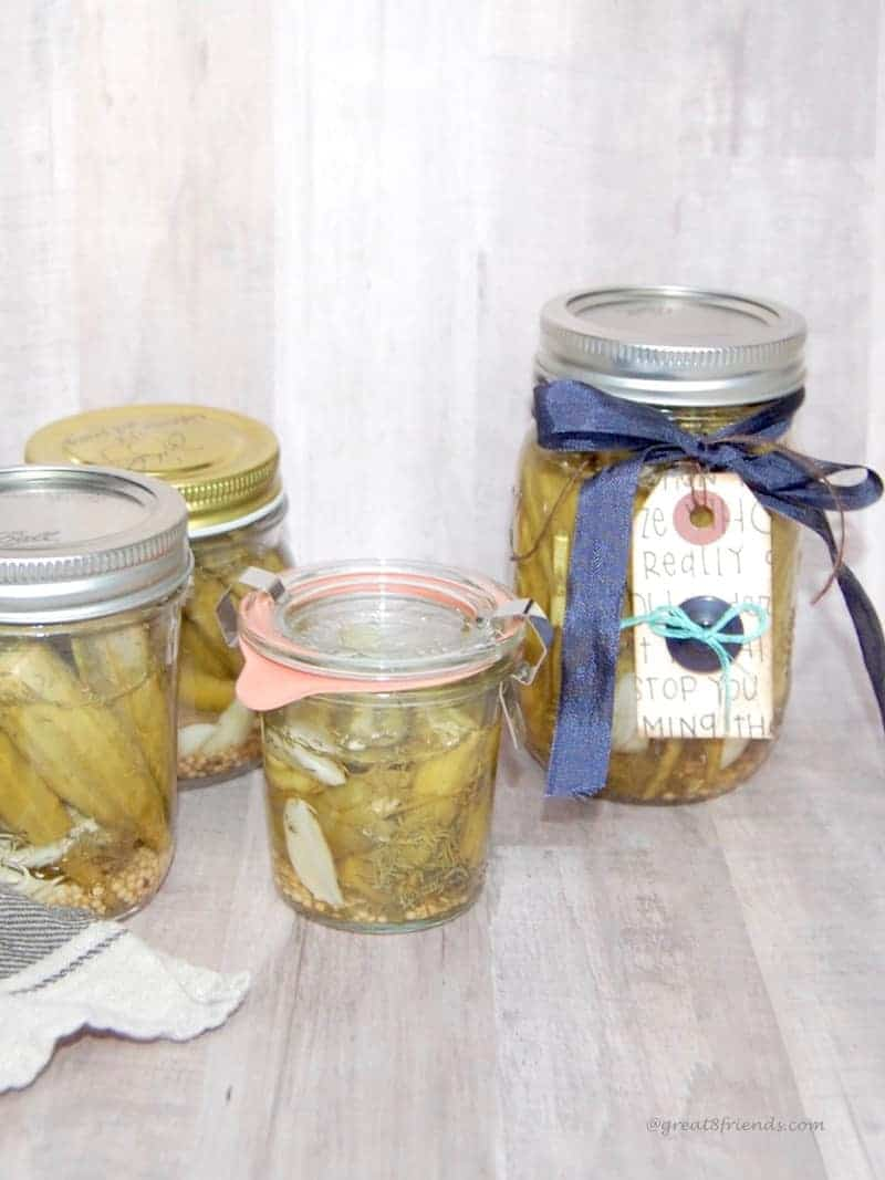 Try this super delicious pickled okra! It has a fun kick to it and would be tasty as a snack or garnish your next Bloody Mary drink with this tasty treat!