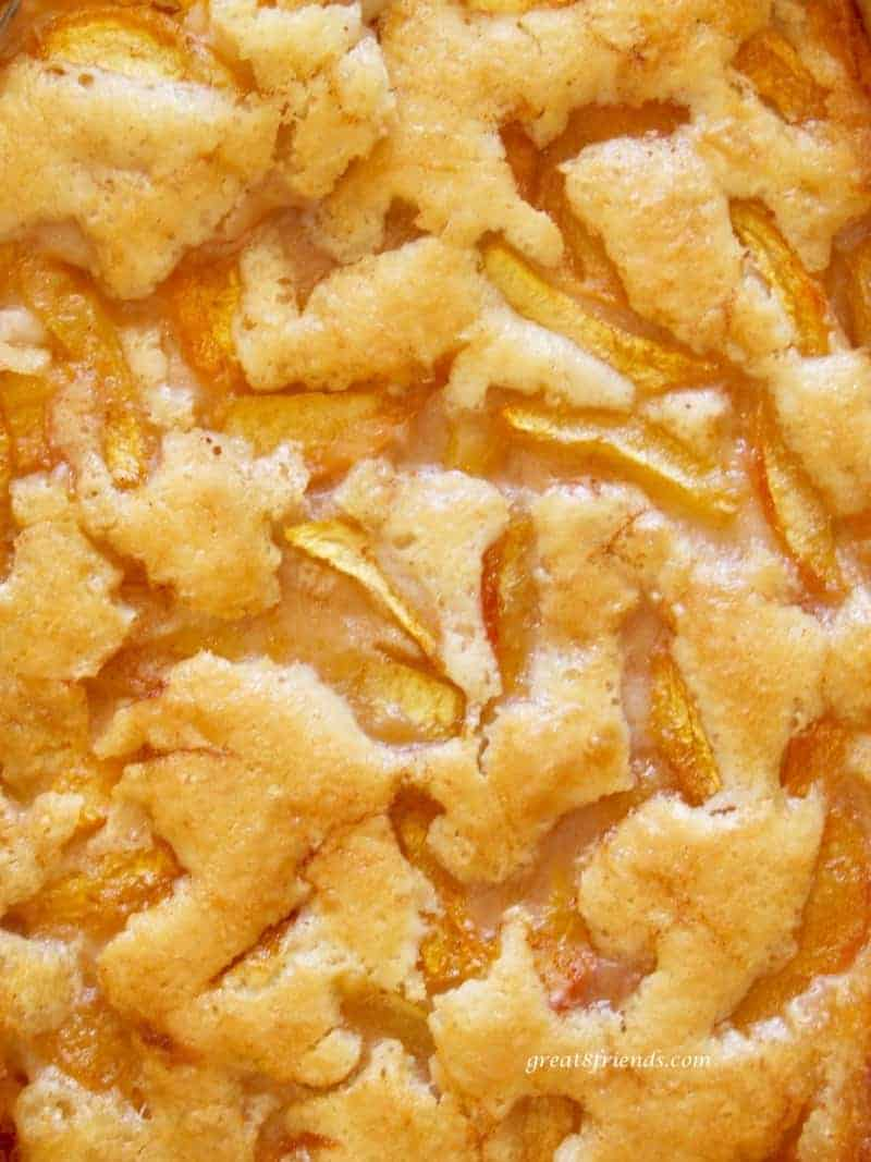 This is an unclose photo of this easy peach cobbler recipe after baked.