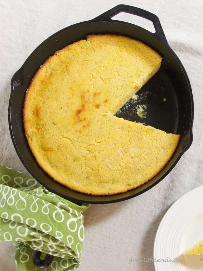This Skillet Cornbread is a savory quick bread that is delicious and easy! The addition of jalapeños gives it a nice pop!