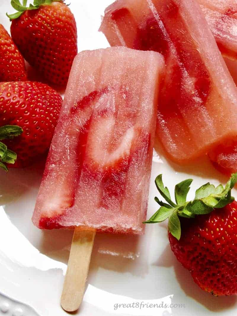 Strawberry Rosé Popsicles