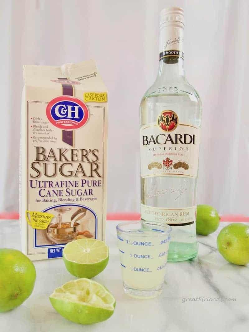 Ultrafine sugar, Bacardi, and limes