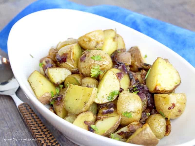 Roasted Herbed Baby Potatoes in serving dish.