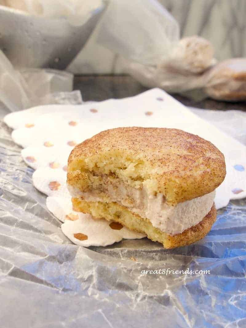 A Snickerdoodle Ice Cream Sandwich with a bite taken