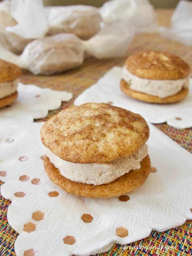 Snickerdoodle Ice Cream Sandwiches...a Gr8 cookie combined with a favorite frozen treat, what could be better? Get the recipe here!