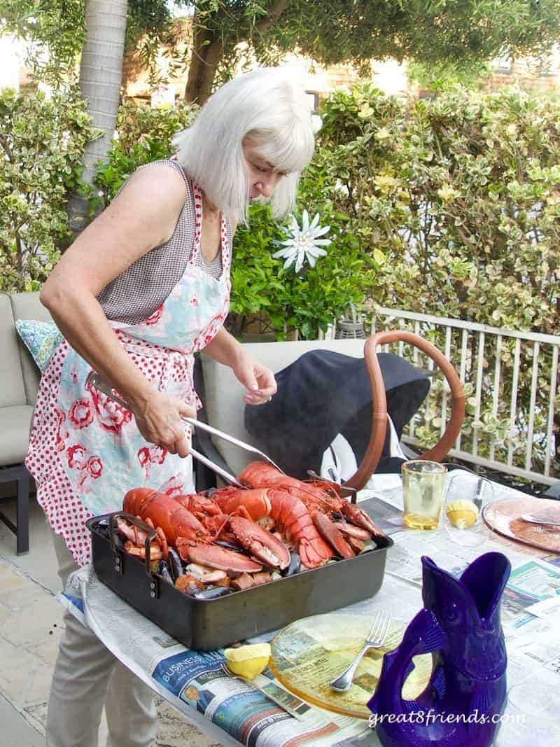 This Clambake on the Grill feeds a crowd and is an easy, casual summertime meal. And the mound of food in the middle of the table is impressive!