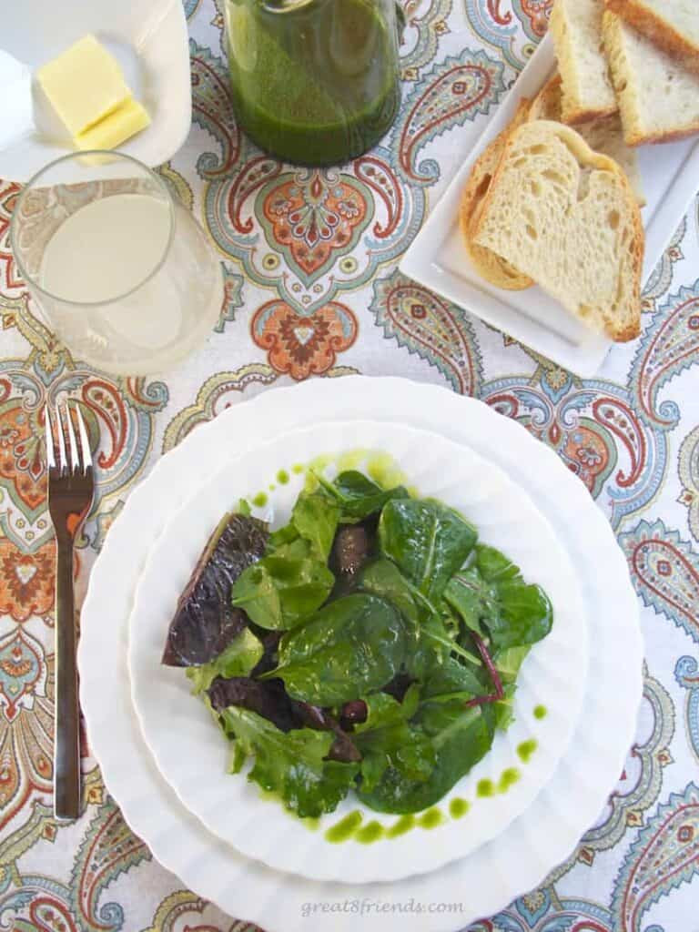 Mixed Field Greens with Arugula Oil and Lemon Vinaigrette