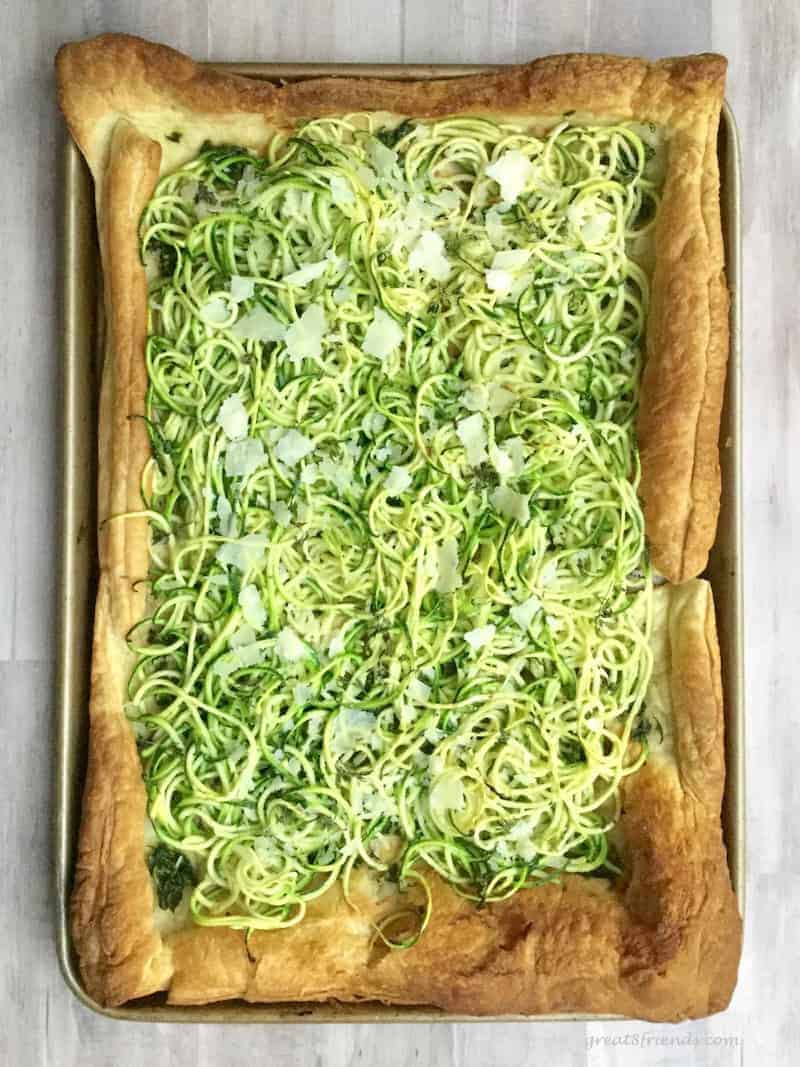 Enjoy this Zucchini Pesto Tart as the perfect snack, side dish or appetizer. The combination of the pesto and zucchini is the perfect flavor!