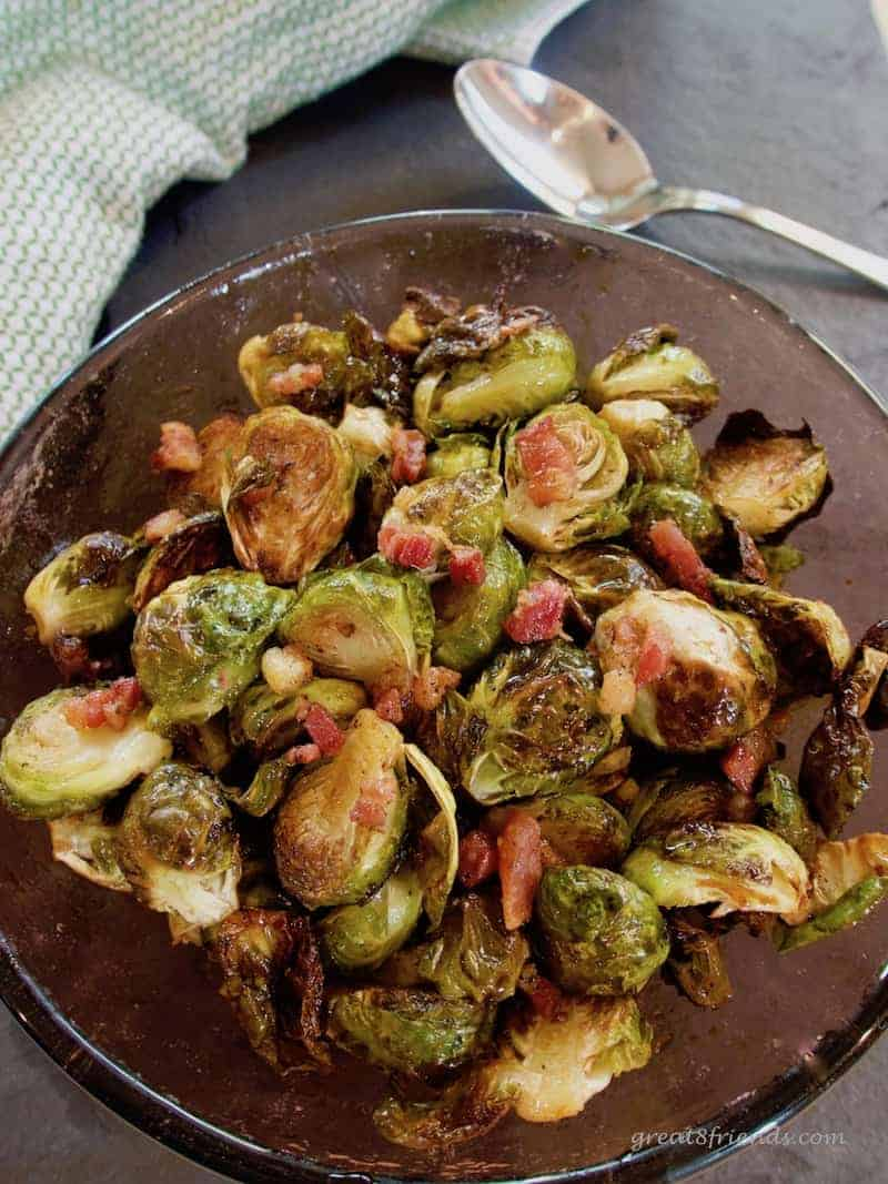 Close up of roasted Brussels sprouts with pancetta.