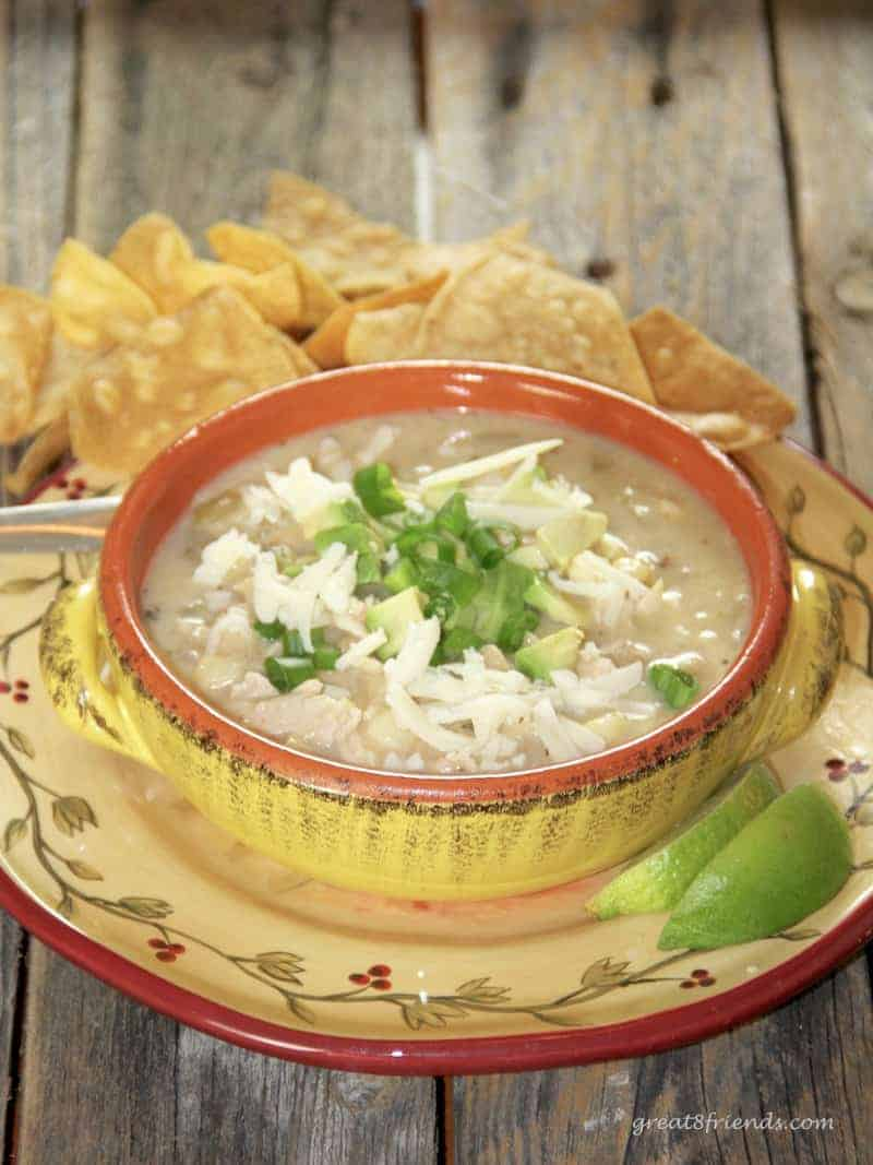 This White Cheddar Chicken Chili is a delicious chili using white navy beans and white cheddar cheese giving it a one of a kind flavor.