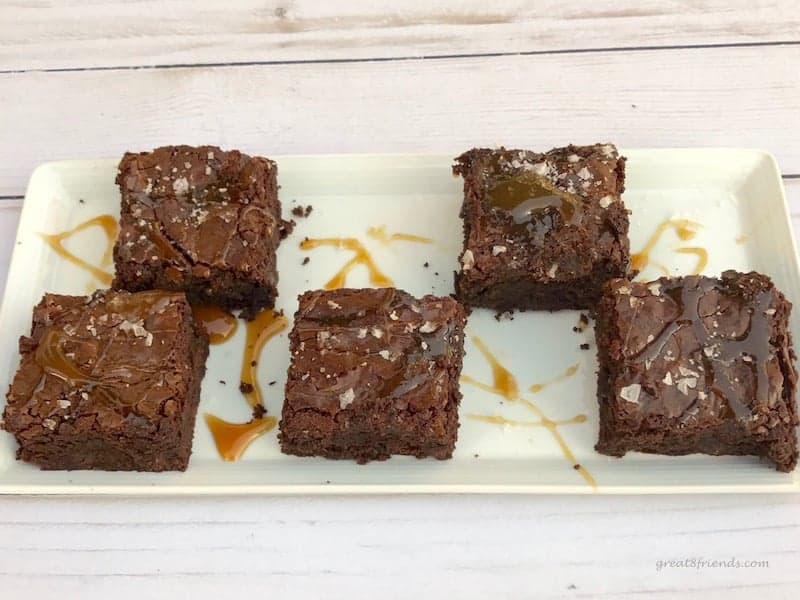 5 Salted Caramel Brownies on a rectangular tray.