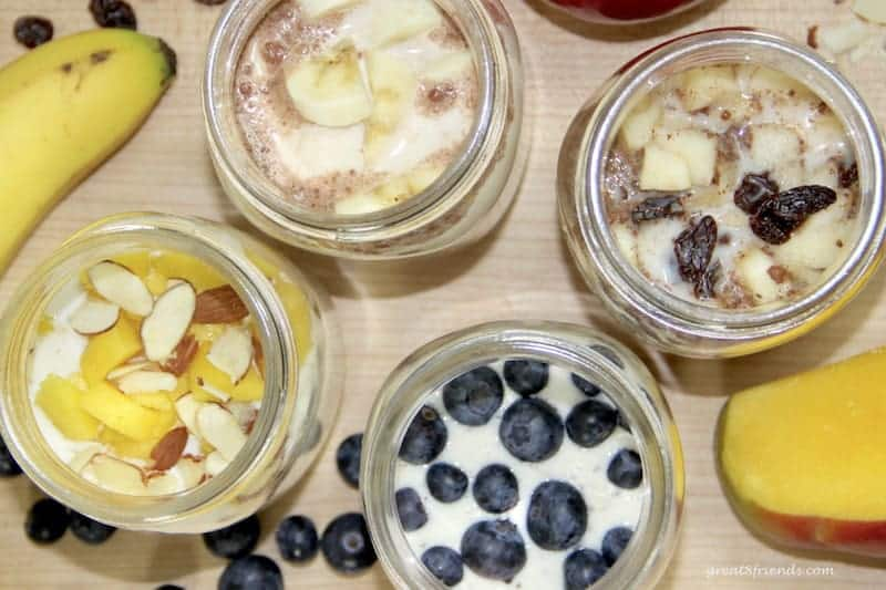 Breakfast Overnight Oats can be served with many different additions like bananas, almonds, mangos, and blueberries.