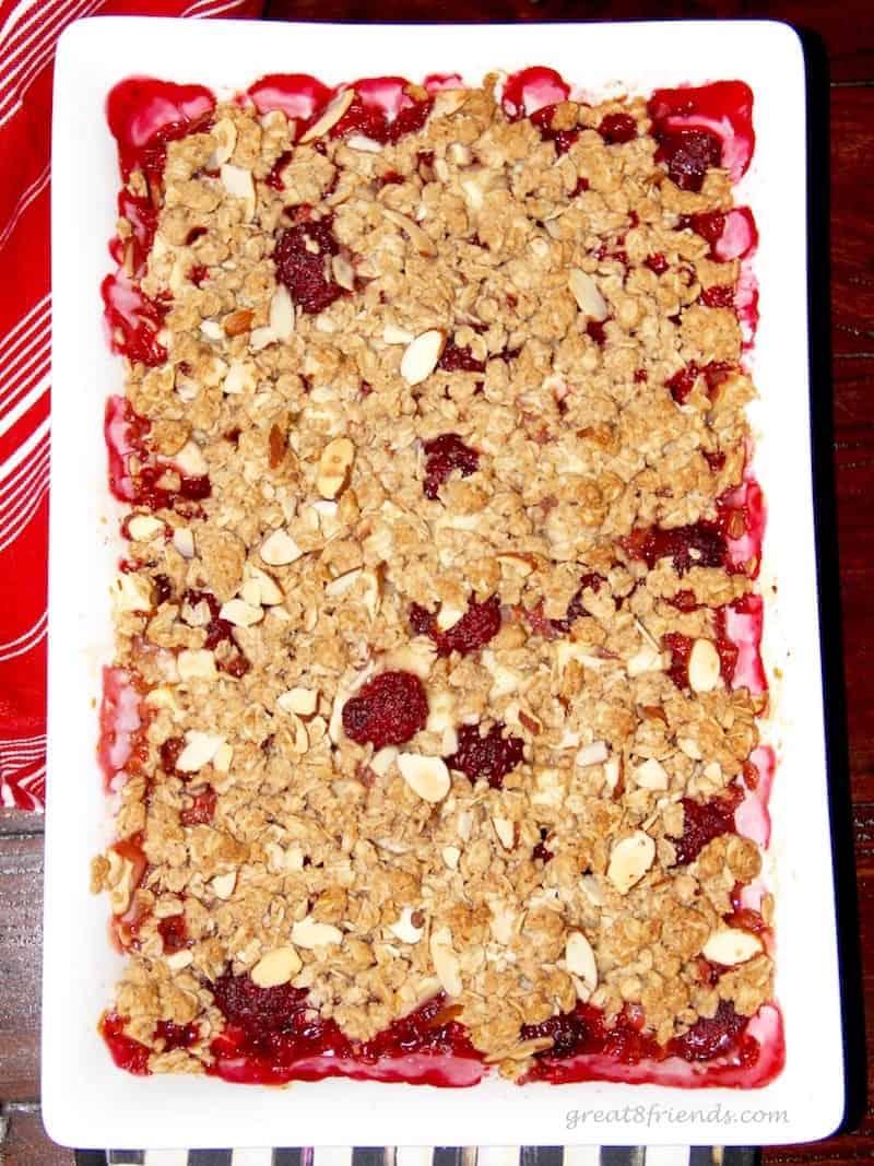 Overhead shot of apple blackberry crisp.