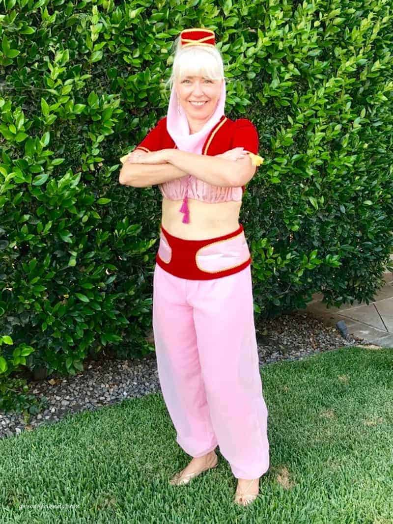 A woman dressed as Jeannie from I Dream of Jeannie.