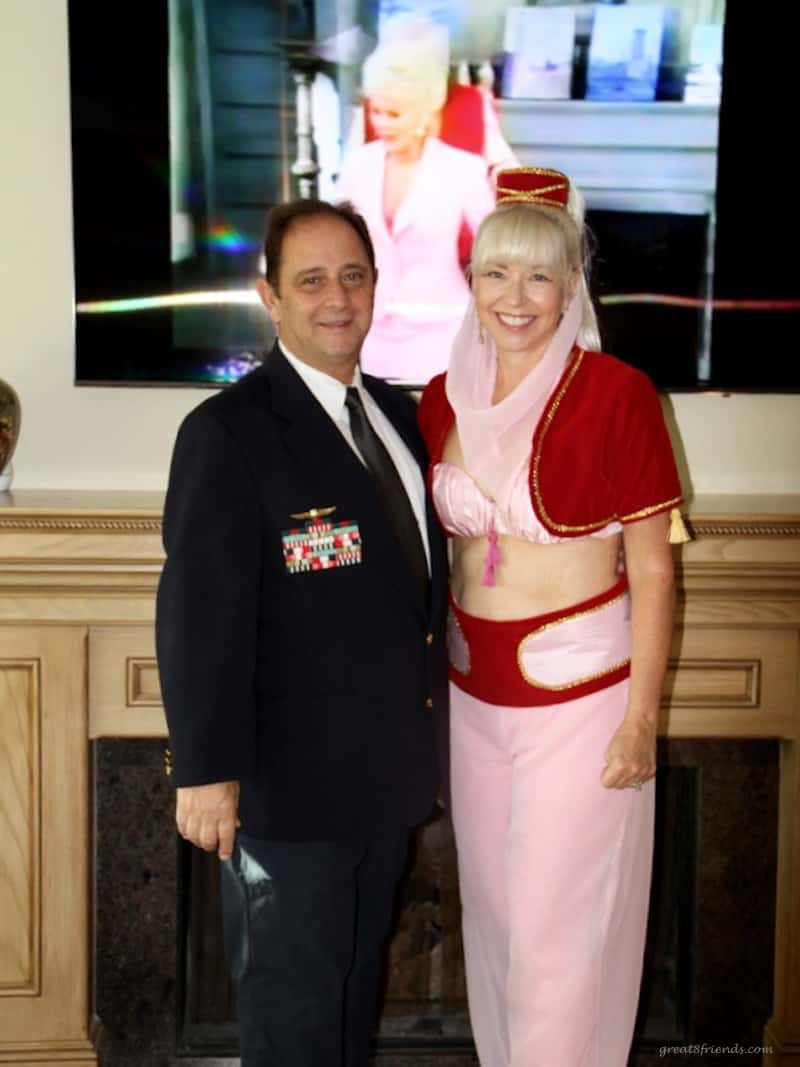 A couple dressed as the major and Jeannie from I Dream of Jeannie.
