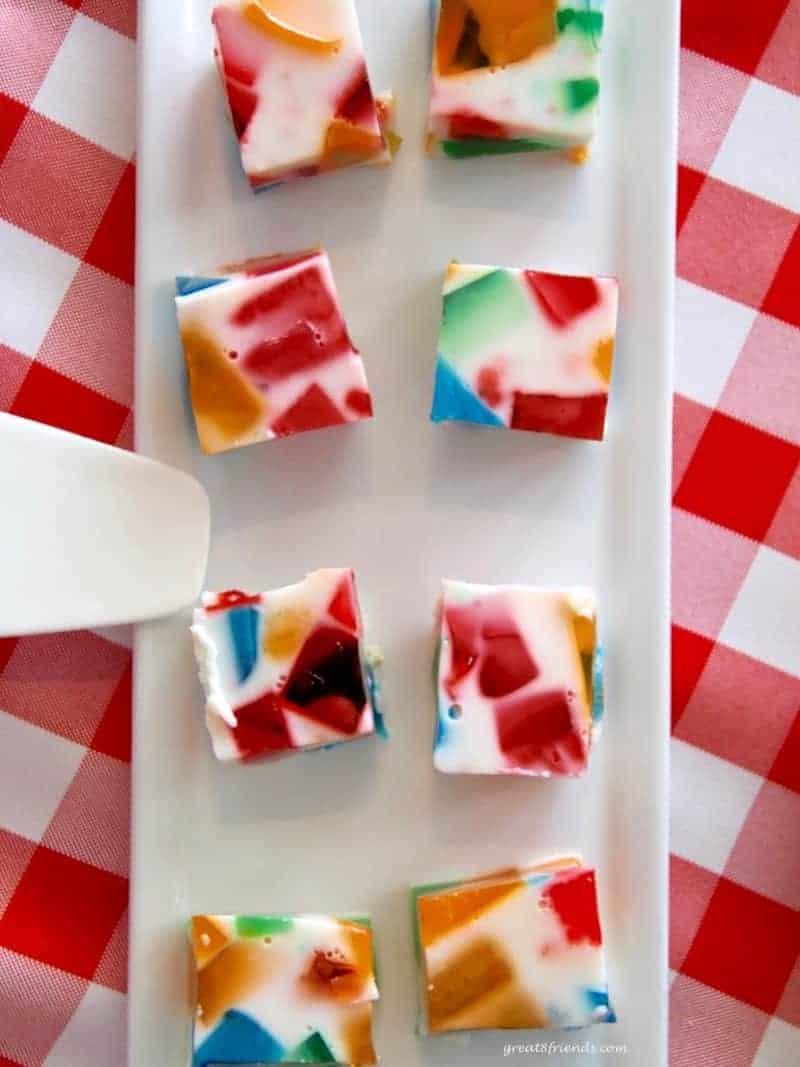 Multi-colored Jello squares.