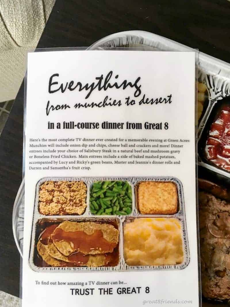 The reverse side of the '60s Sitcoms TV Dinner Party invitation.