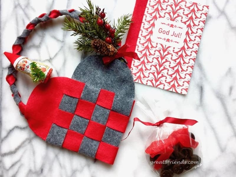 A Danish Christmas dinner invitation felt woven heart