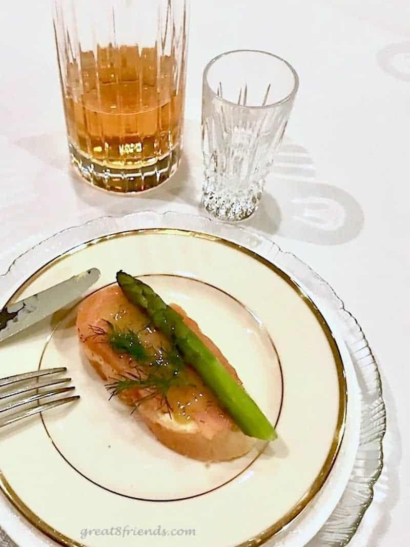 A plate of smoked salmon smorrebrod.