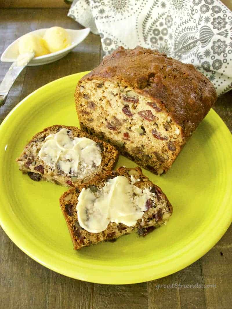Homemade bread is a perfect gift. This recipe for Cranberry Date Nut Bread makes 4 mini loaves, so you have 4 gifts! A throwback recipe from mom.