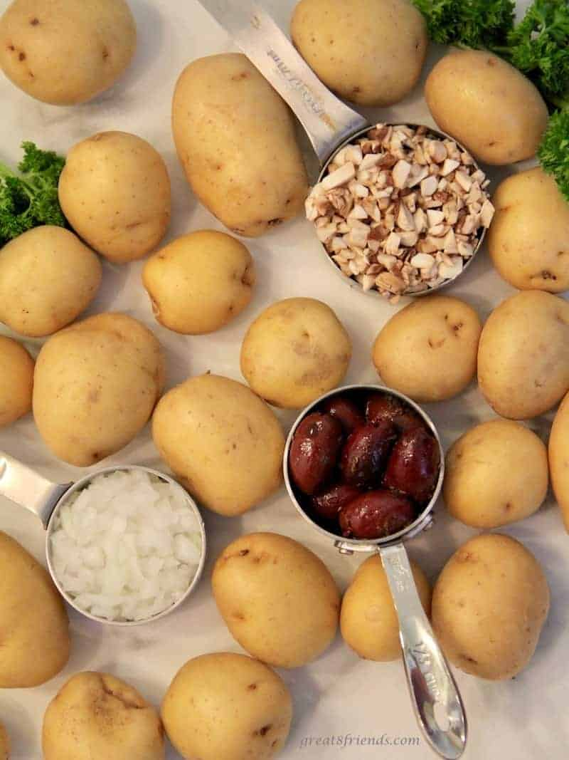Ingredients for making dirty potatoes.
