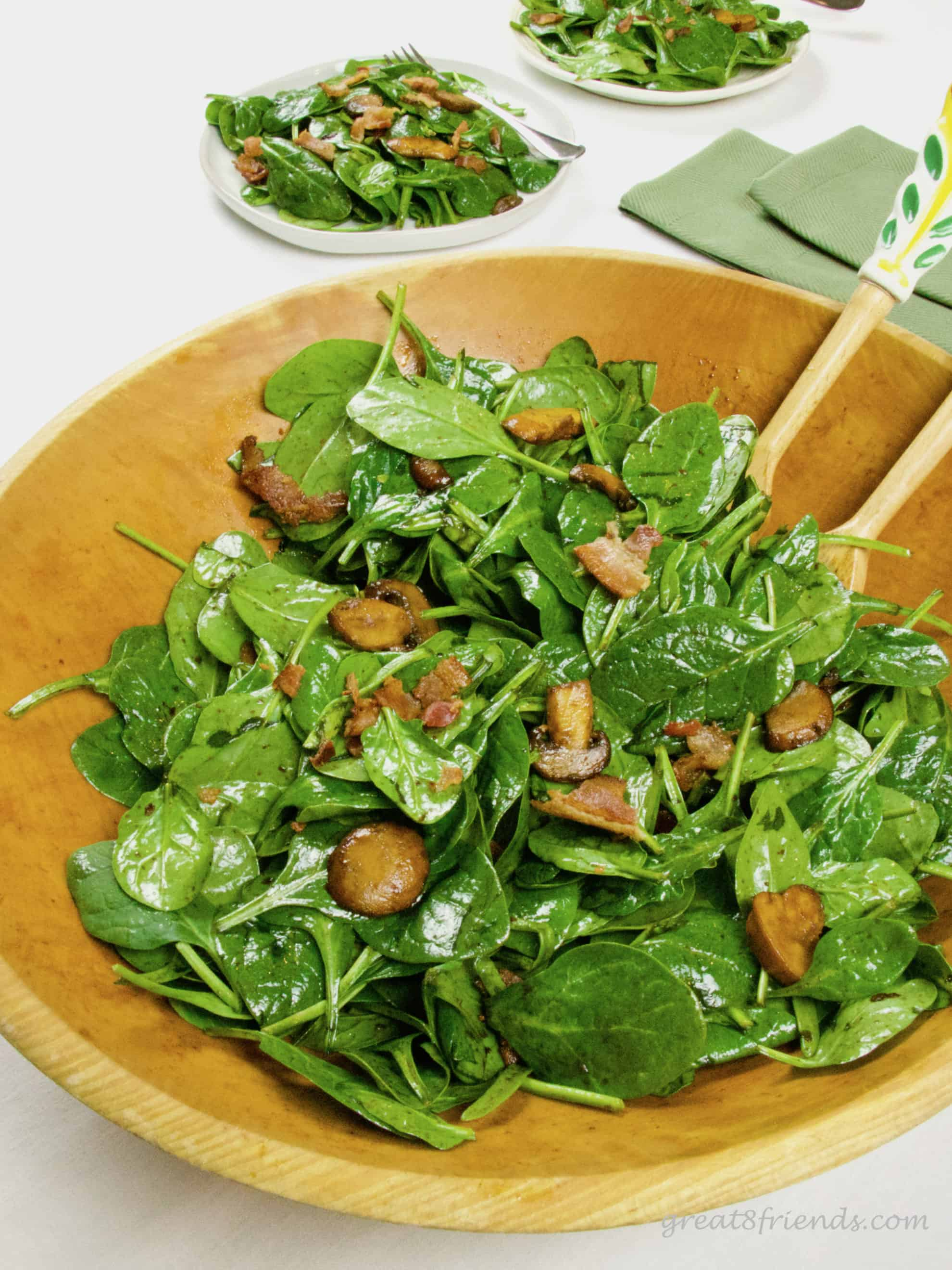 This Warm Mushroom Bacon Spinach Salad is the perfect beginning for your dinner. You can even make the dressing ahead of time!