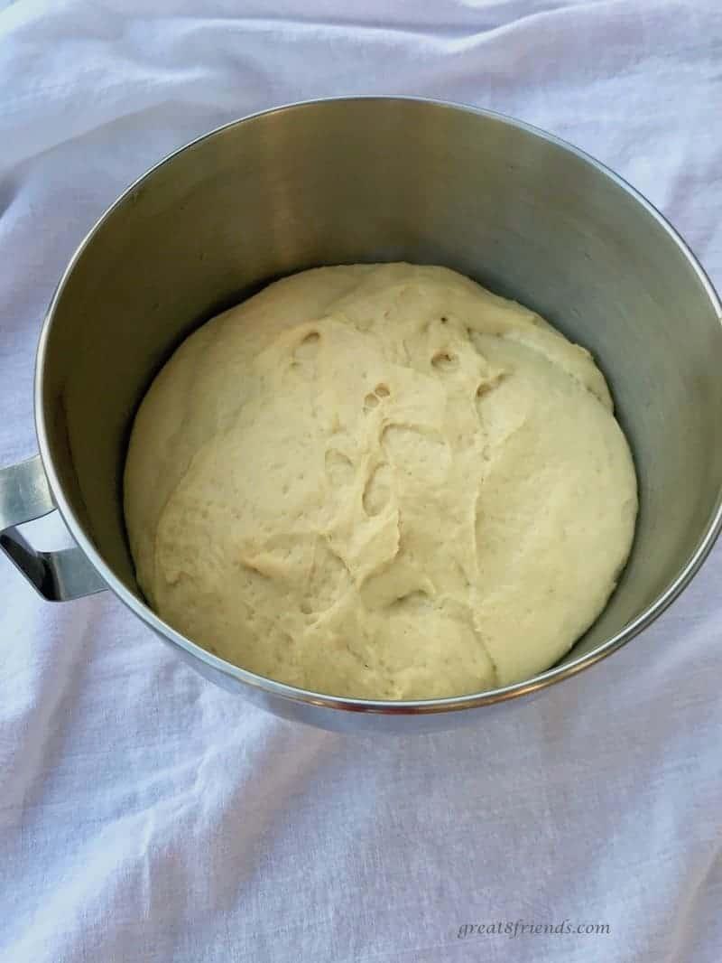 Hawaiian Bread dough rising in the mixing bowl.