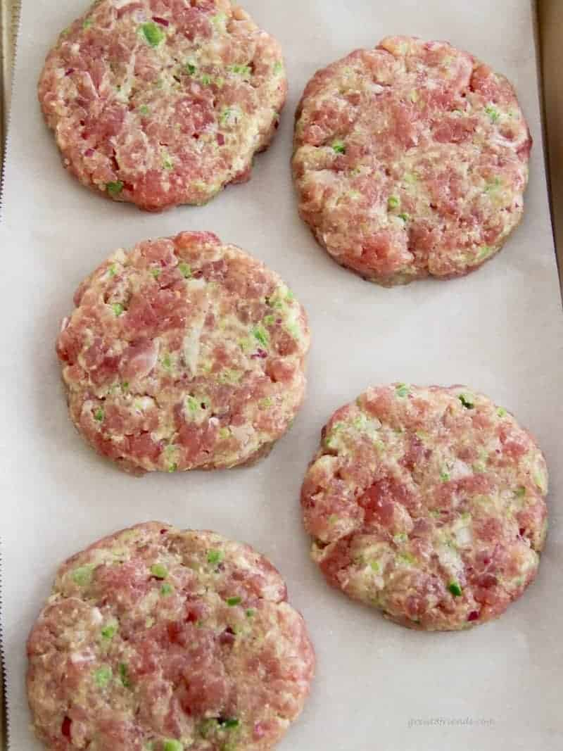 Raw tuna burgers ready for the grill.