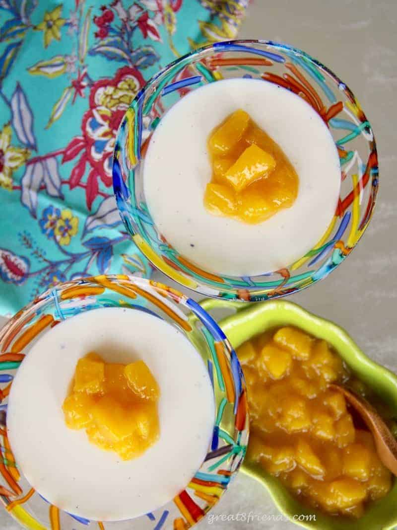 Impress your guests with this Vanilla Panna Cotta with Mango Compote. It is an unbelievably easy dessert to prepare, tasting much like a vanilla pudding with a bit of fresh fruit sweetness on top.