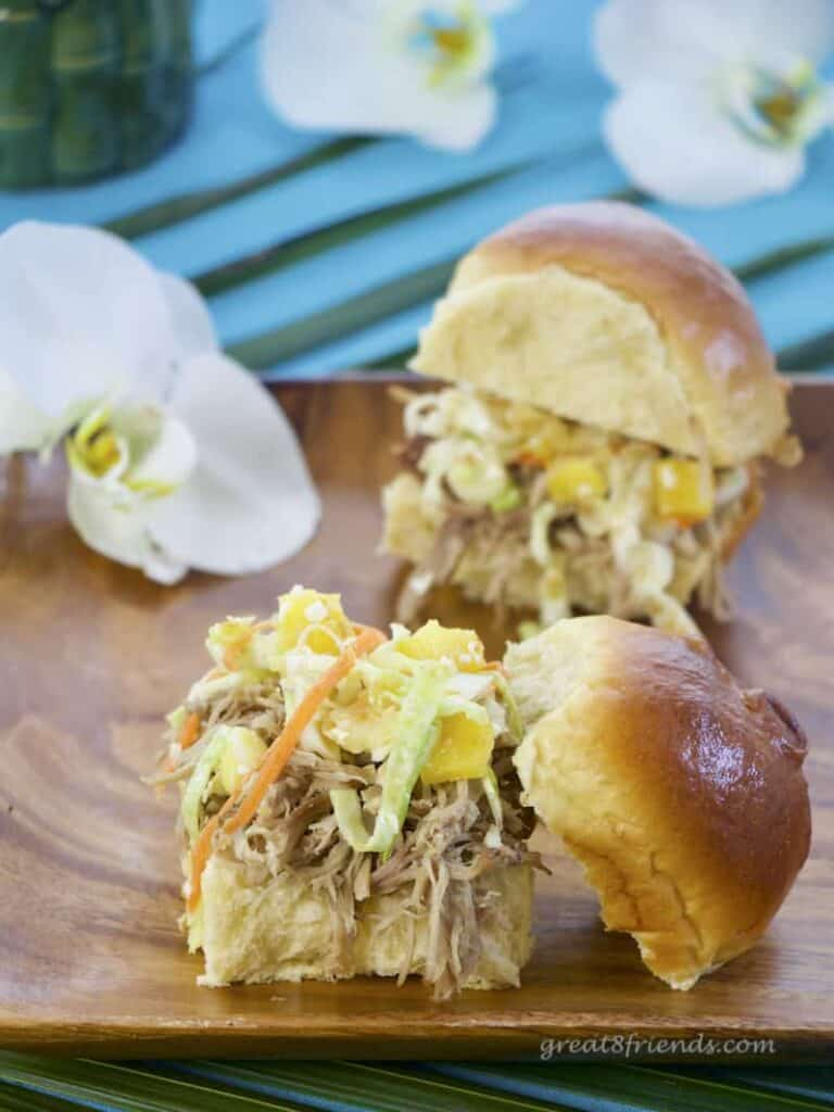 For a Gr8 casual dinner try these Island Pulled Pork Sandwiches. The smoky shredded pork and the Pineapple Sesame Slaw are perfect together!