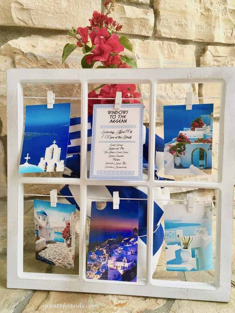 Windows to the Aegean became our dinner party theme after a journey to Greece. The table setting and delicious menu were also inspired by our trip.