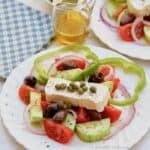 This Great Greek Salad is a simple salad made of a few fresh vegetables and dressed with the best extra virgin olive oil, feta and oregano!