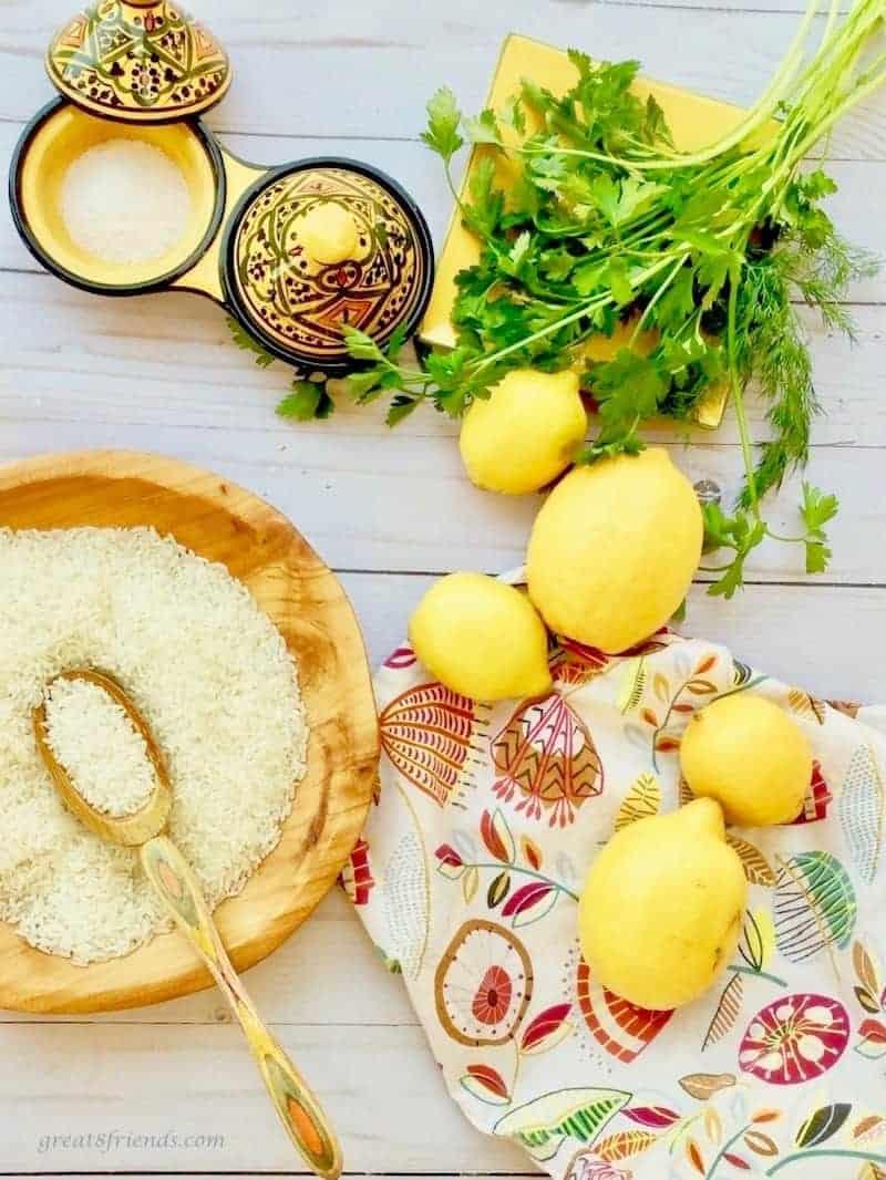 Ingredients for zesty lemon rice
