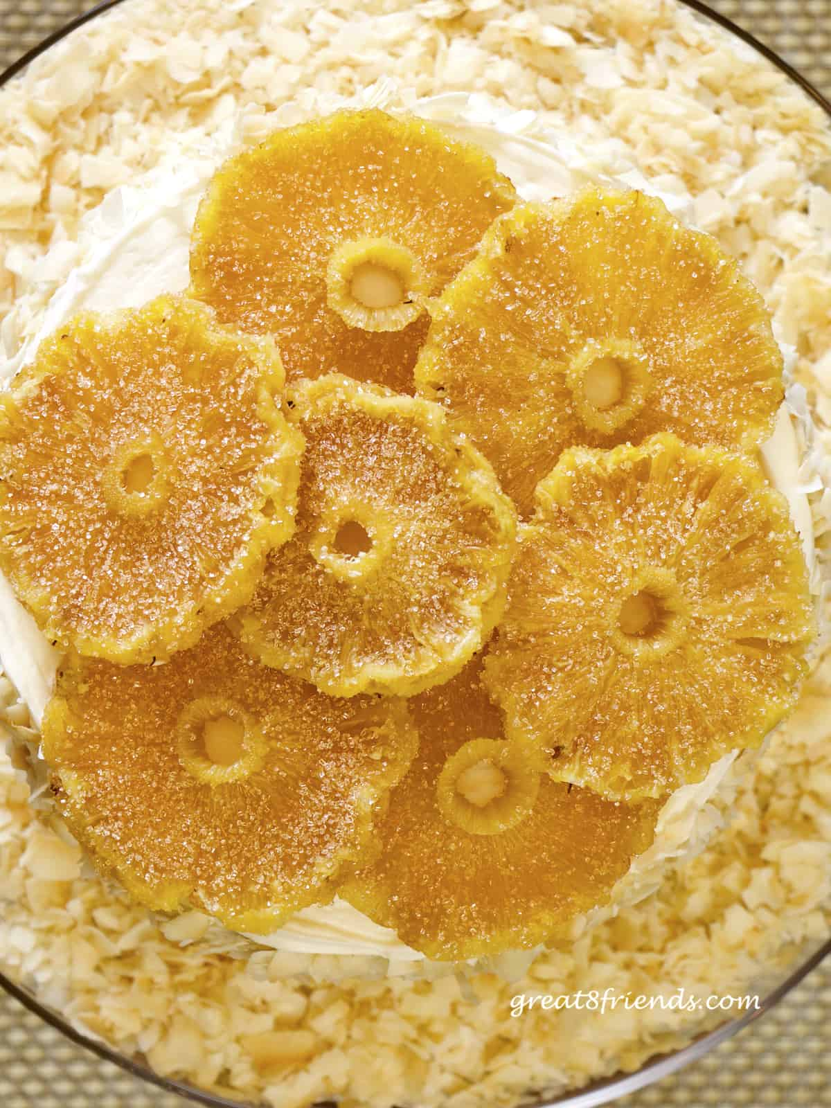 Overhead shot of round slices of candied pineapple.
