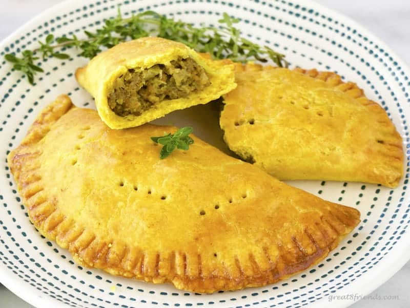 2 Jamaican Meat Pies close up.